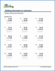 adding and subtracting decimals worksheets grade 5 7376 grade 5 math worksheets adding decimals in columns k5 learning