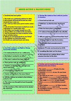 mixed active and passive voice esl worksheet by dinglesazara