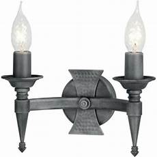 saxon forged wrought iron double wall light in black