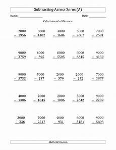 subtraction worksheets with borrowing and zeros 10016 the subtracting across zeros from multiples of 1000 a math worksheet from the subtraction