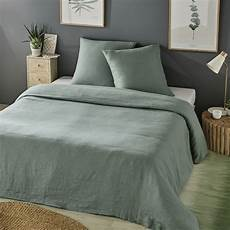 parure de lit en lav 233 vert jade 240x260 maisons du monde
