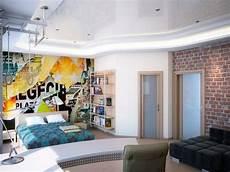 Wandgestaltung Jugendzimmer Junge Tapete Abstrakt Collage