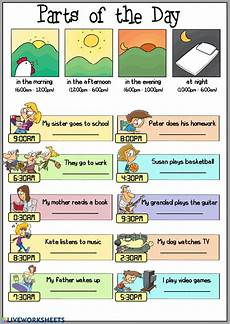time of day worksheets esl 3795 parts of the day interactive worksheet