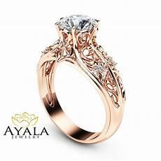 14k rose gold engagement ring unique engagement ring rose gold