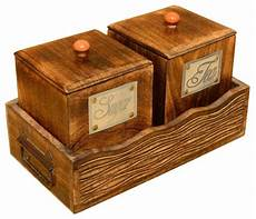 wooden canisters kitchen shop houzz living concepts sugar and tea wooden canister and tray set kitchen