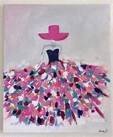 format toile peinture tableau moderne femme robe coloree 12 sur toile format 55x46 peinture toile