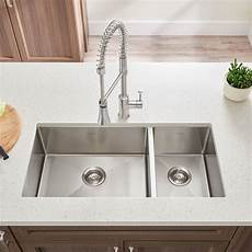 pekoe 35x18 inch offset double bowl kitchen sink