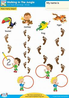 jungle animals worksheets for preschool 13917 walking in the jungle worksheet how many steps 1 simple