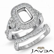 cushion diamond engagement pave ring bridal sets platinum 950 setting 2 1ct ebay
