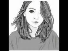 dessin de fille en noir et blanc