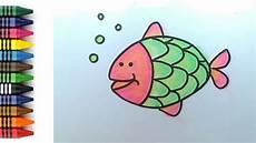 How To Draw Fish For Menggambar Dan Mewarnai Ikan