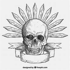 selbst gezeichnete bilder skull with swords vector free