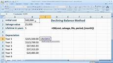 finance in excel 5 calculate declining balance method of