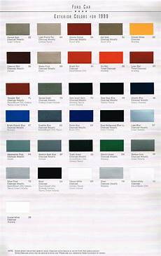 1999 ford color chart chip paint sle brochure mustang crown ebay