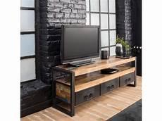 meuble tv industriel 3 tiroirs bois et m 233 tal mox12