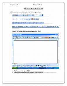 computer skills worksheets computer skills 1 microsoft word microsoft word worksheet 1 1 what