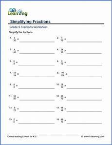 fractions worksheets grade 5 4207 grade 5 math worksheet fractions simplifying fractions k5 learning