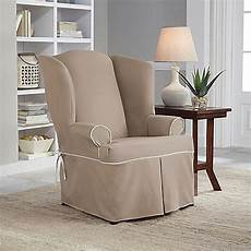 fit 174 classic twill wingback chair slipcover bed bath beyond