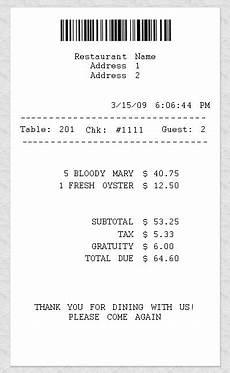9 restaurant receipt template free premium templates