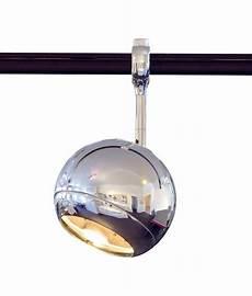 polished chrome adjustable track spot light in a eyeball design