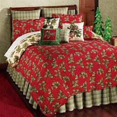 holly holiday cotton filled king quilt