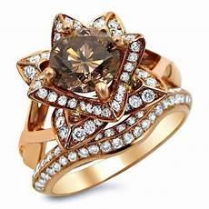 2 0ct brown diamond lotus flower engagement ring 14k rose gold front jewelers