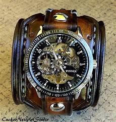 montre bracelet cuir large steunk wrist leather skeleton