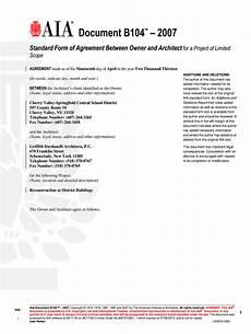 fillable online b104 2007 owner architect agreement aia
