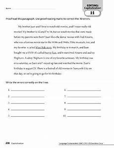 capitalization and punctuation editing worksheets 20756 this editing unit provides practice for fourth grade students to identify capitalization and