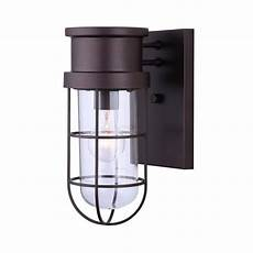 canarm 1 light rubbed bronze outdoor wall light with wire cage and clear glass