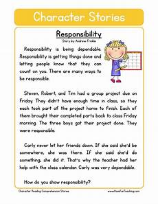 worksheets for teaching responsibility reading comprehension worksheet responsability