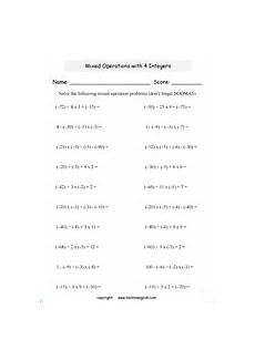 math worksheets with integers and negative numbers for primary students