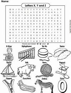 phonics worksheet beginning letter sounds the letters y and z word search