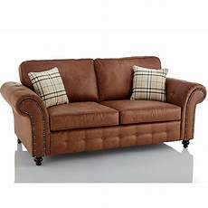 oakland faux leather 3 seater sofa in brown just sleep on it