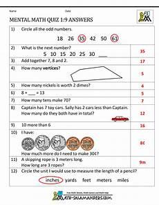 first grade mental math worksheets