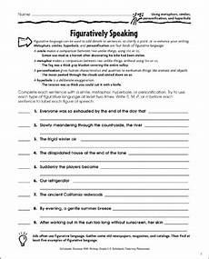 figuratively speaking using metaphors similes personification and hyperbole printable
