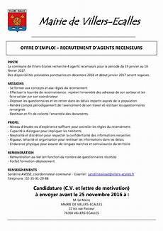 Recrutement D Agents Recenseurs Commune De Villers