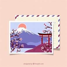 japan postcard template carte postale de voyage avec paysage japonais