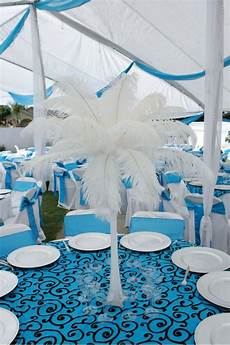 malibu blue and ostrich feathers dbbridalstyle pinspire my diy wedding blue wedding