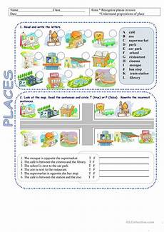 esl worksheets places in town 16001 places in town directions worksheet free esl printable worksheets made by teachers