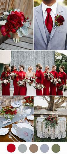8 beautiful wedding color ideas in shades of red wine and burgundy grey wedding theme red