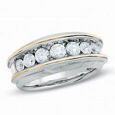 men s 1 1 2 ct t w diamond seven stone wedding band in 10k two tone gold wedding bands