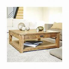 table basse bois naturel garden and co table basse carr 233 e teck recycle 100cm