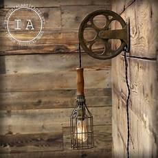 vintage industriel en fonte poulie fil cage mal le