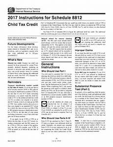 fillable online irs 2017 instructions for schedule 8812