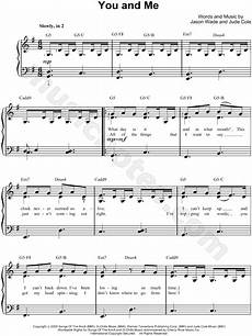 lifehouse quot you and me quot sheet music easy piano in g major download print sku mn0069843