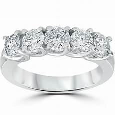 1 1 2ct real diamond wedding anniversary band womens 14k white gold ring ebay