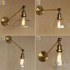 modern vintage industrial loft metal glass rustic sconce wall light wall l brass gold plated