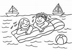 kostenlose malvorlage sommer kinder auf der luftmatratze