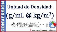m 3 en l convertir g ml a kg m3 densidad